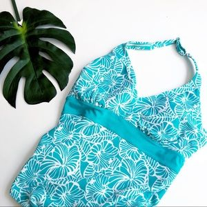 LL Bean tropical print one piece halter swimsuit